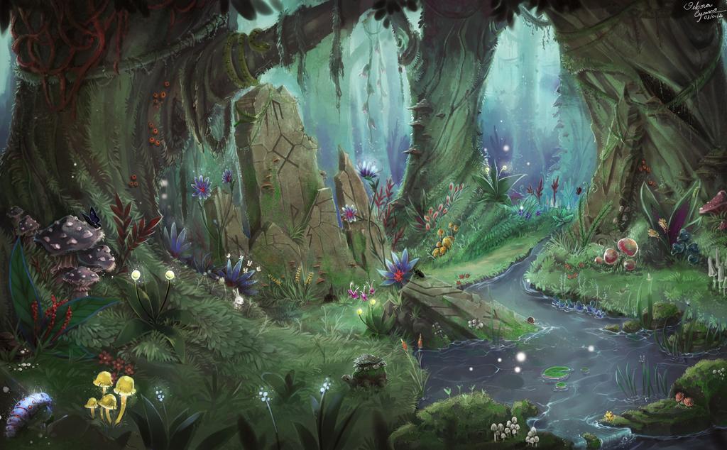 Trippy mushroom forest