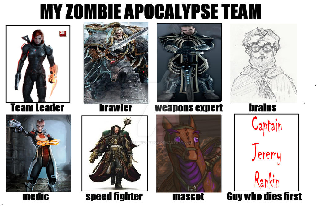 zombie apocalypse team meme by the13inquisitor on deviantart