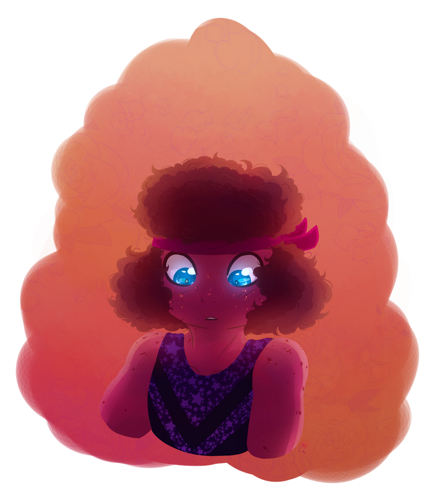 Ruby companion piece to my earlier Sapphire.  Also in the Eyeswap!AU Image Transcript: [A waist-up image of Ruby from Steven Universe.  She is looking down with a lightly open mouth and r...