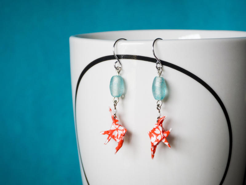 Red and Aqua Origami Fish Earrings by periwinklepinwheel