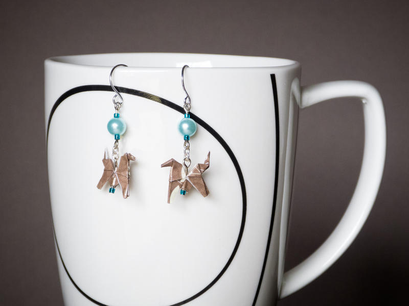 Brown and Teal Origami Horse Earrings by periwinklepinwheel