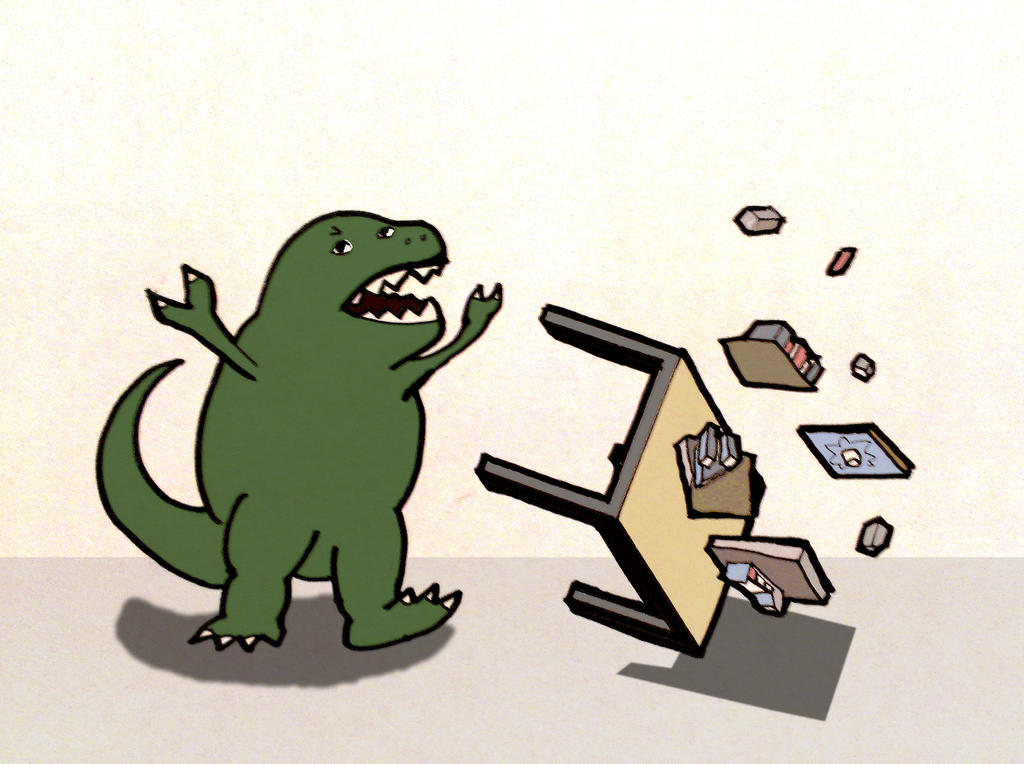 dinosaur flipping a table by firstcultural - Table Flip