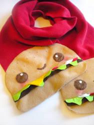Cheeseburger Scarf by kickass-peanut