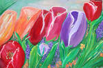 Tulips in Spring Acrylic Painting