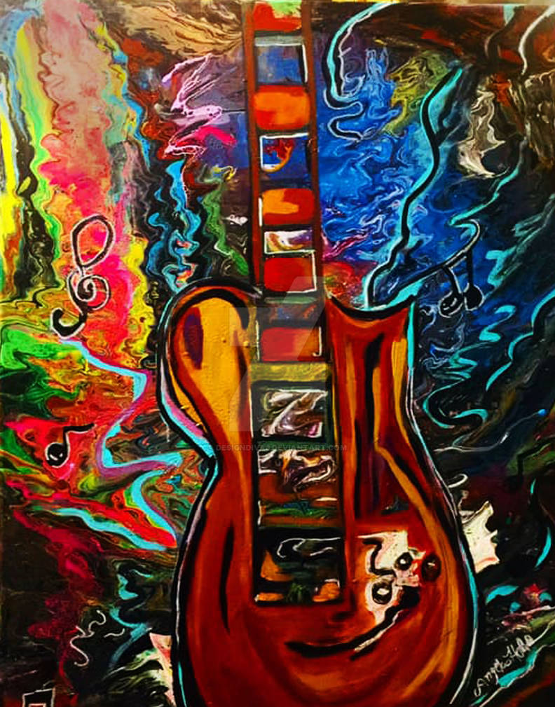 Color of music guitar acrylic painting on canvas