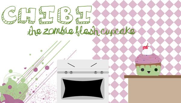 chibi the zombie flesh cupcake by holiebuckets