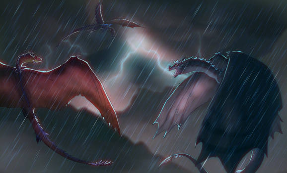 two fools attack a lightning dragon during a storm