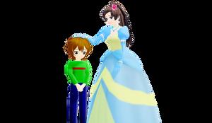 Cinderella patting Sean on the head