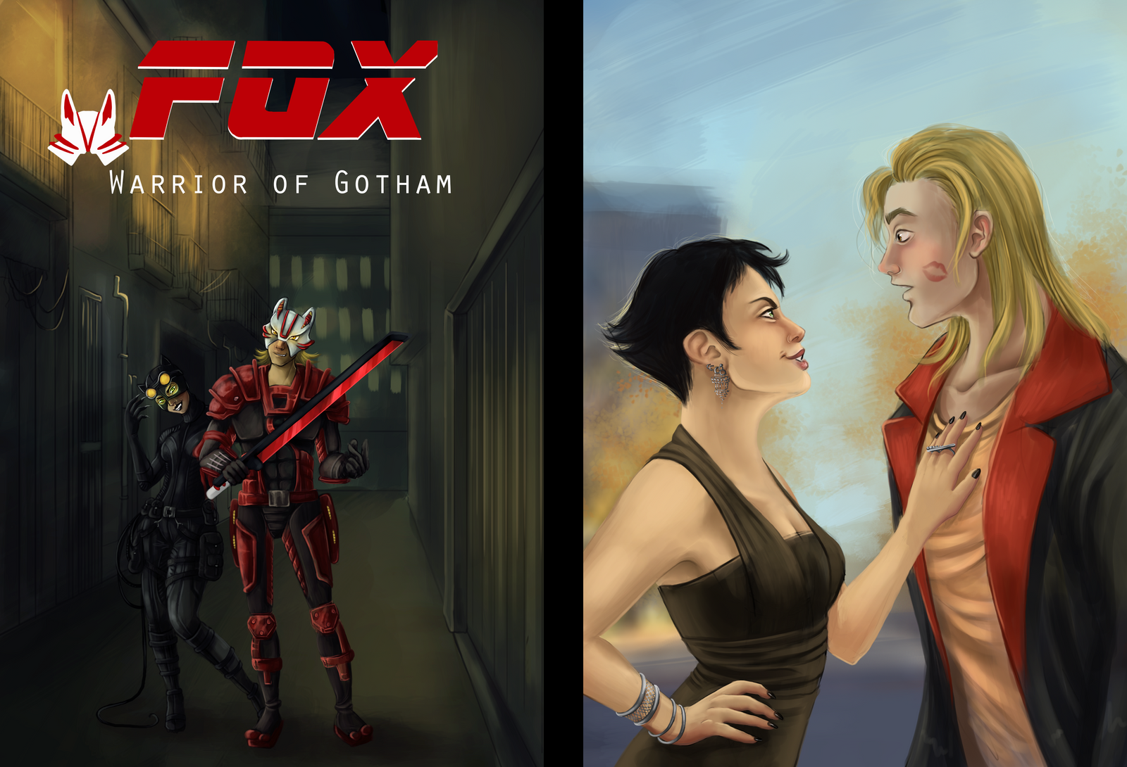 Fox Comic Cover-Lovers in the Grey by Foxy-Knight