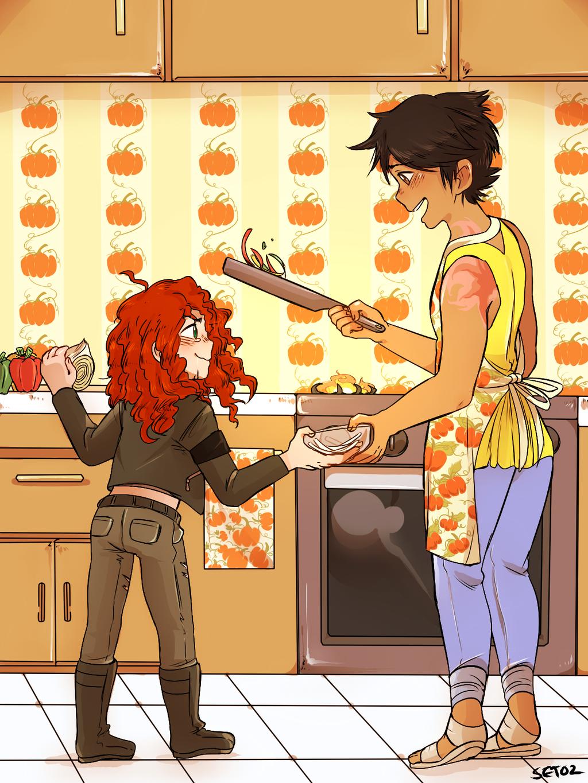 Cookin' wi' mammy . by Foxy-Knight