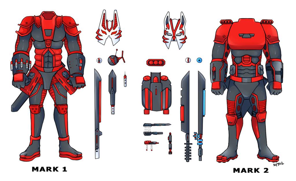 Fox Armour/Skill Sheet (Mark 1 and Mark 2) by Foxy-Knight