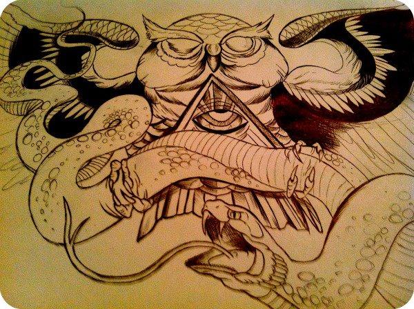 owl tattoo design by bethanyyes on deviantart. Black Bedroom Furniture Sets. Home Design Ideas