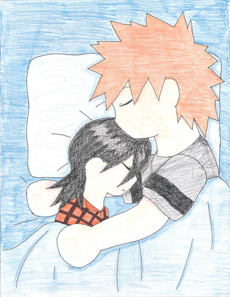 Ichigo and Rukia sleeping by animedemon77