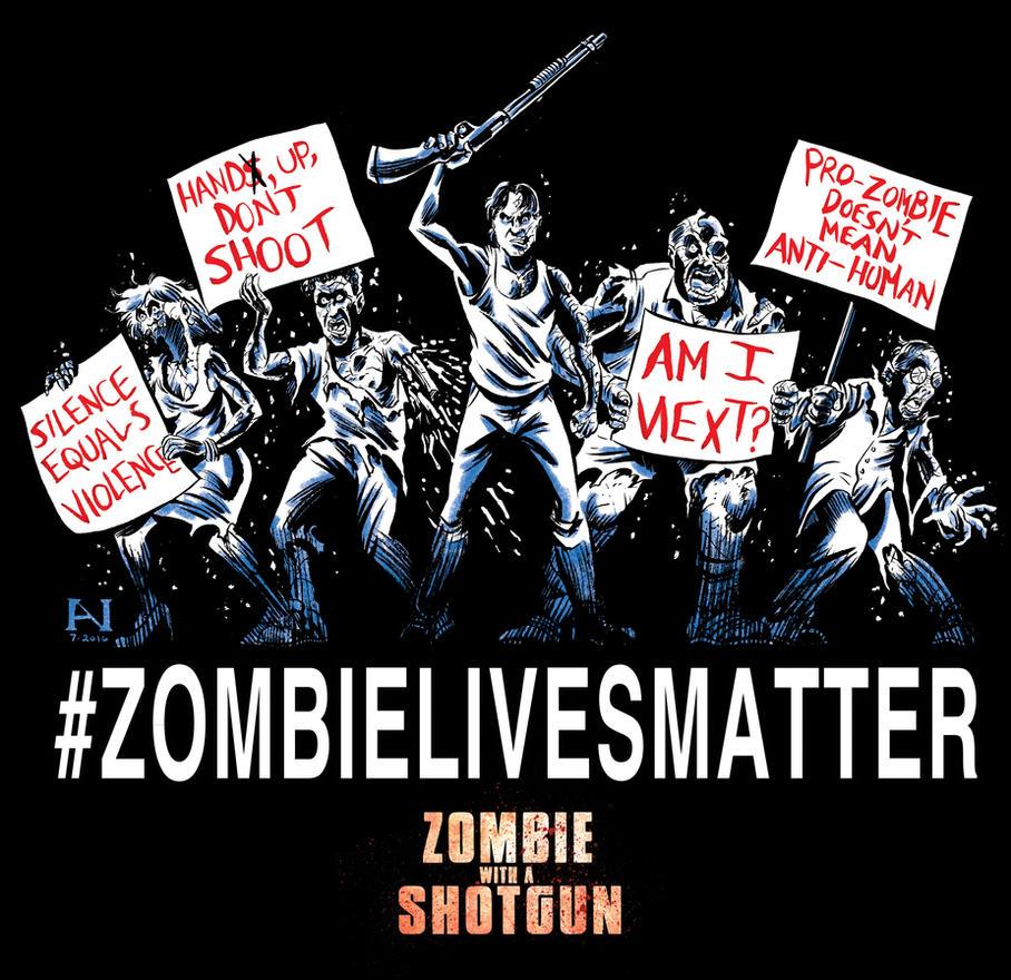 Zombie With a Shotgun T-Shirt by IanJMiller