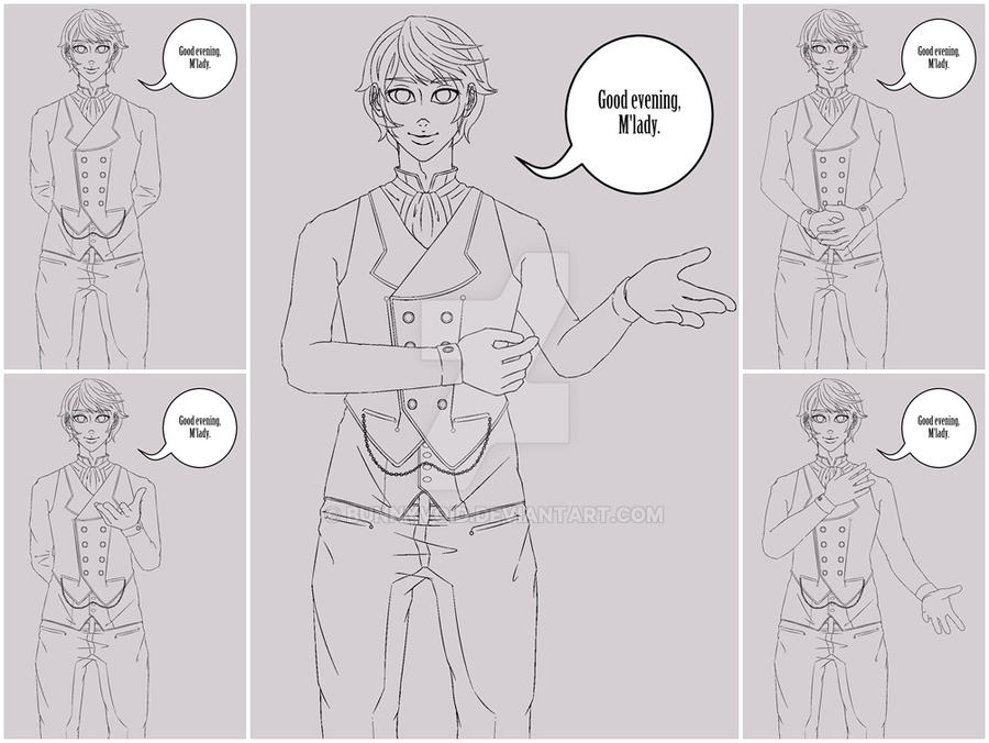 Butler Poses Blaiser - Curly Haired Bishounen by BunnyVoid