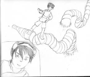 Toph having fun with a worm