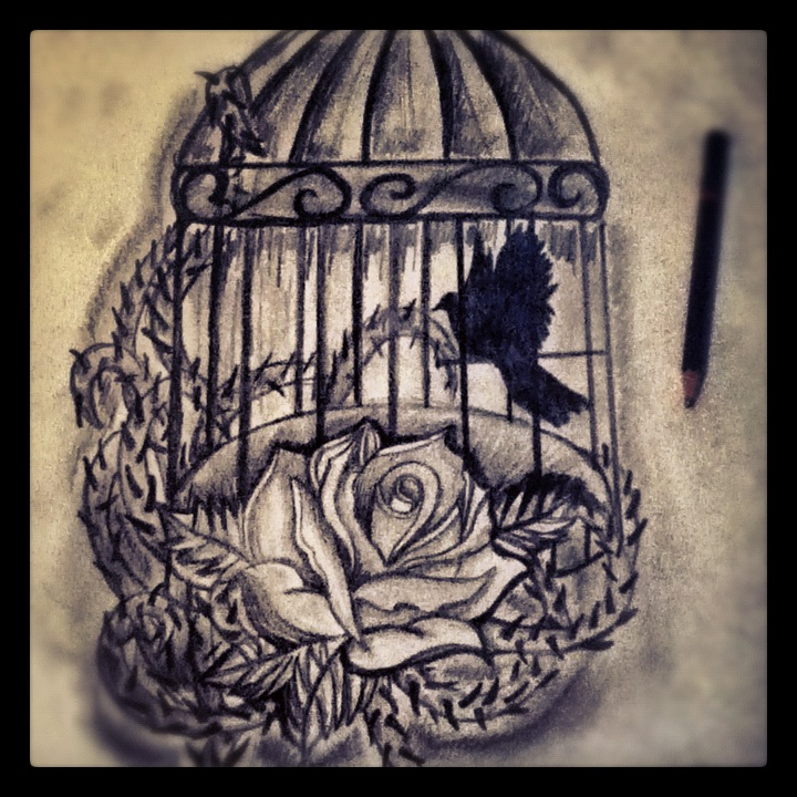 tattoo design bird cage and rose by jackerynorthall on deviantart. Black Bedroom Furniture Sets. Home Design Ideas