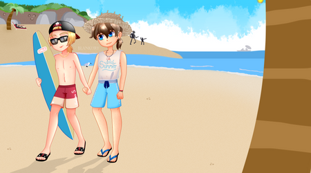 Summer with Golden and Freddy FNAFHS by BlanKury