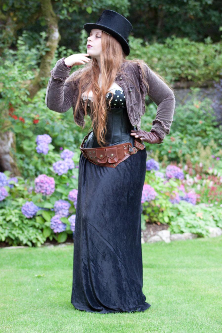 Steampunk lady in the garden by NightPhoenixFire