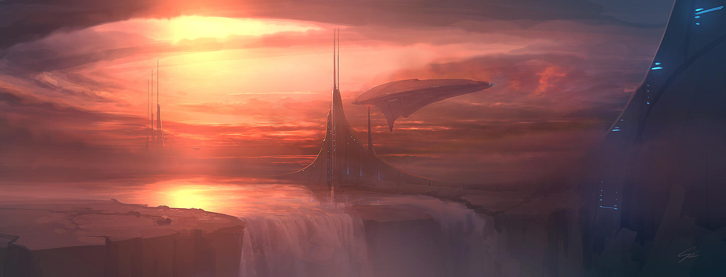 Speedpaint - Waterfall Outpost by ANTIFAN-REAL