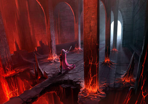 Fire Caves - Concept painting.