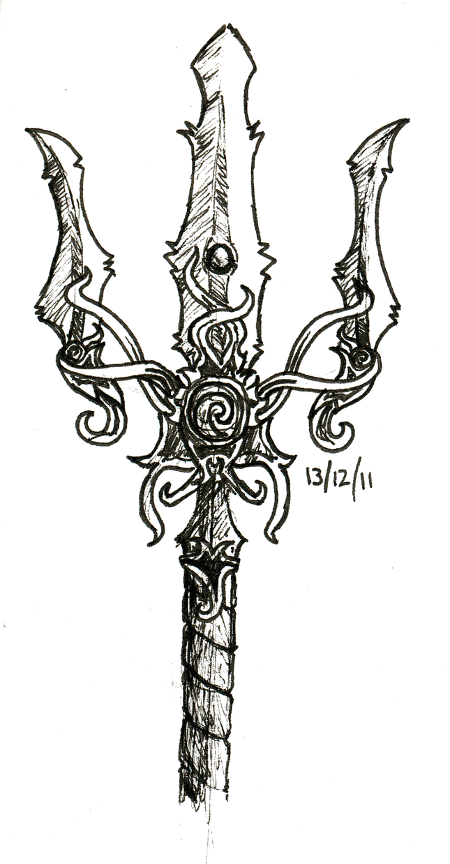 poseidon coloring pages - poseidon 39 s trident by mebiusu on deviantart