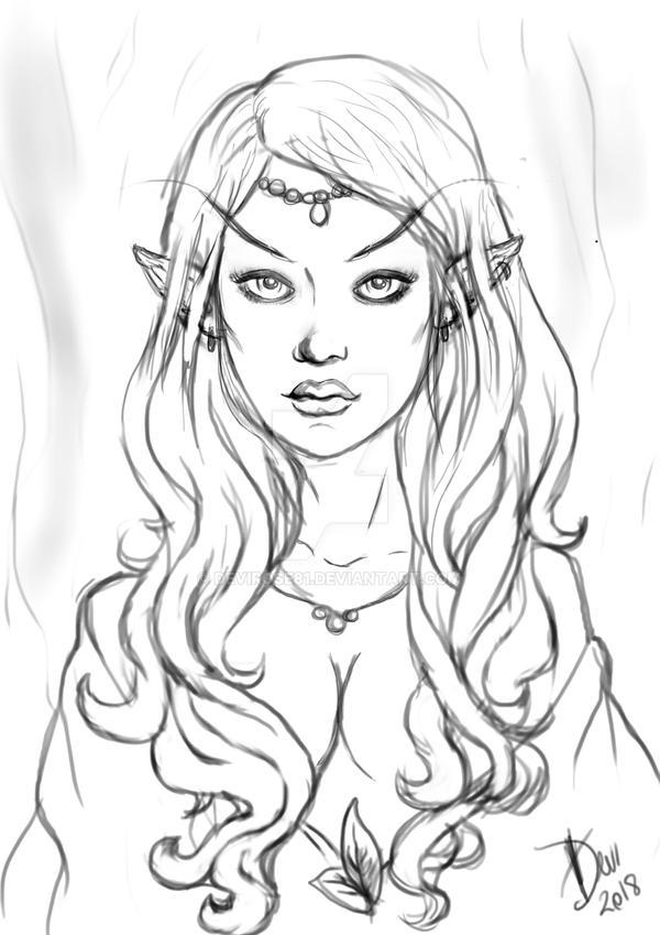 Elf sketch 2 by Devirose81