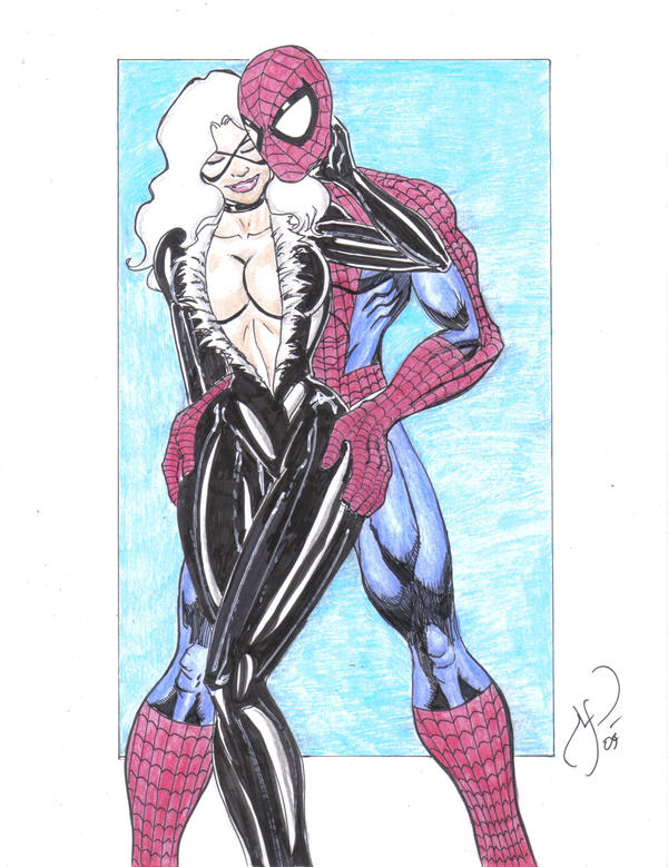 Spidey and Black Cat in Color by MichaelPowellArt