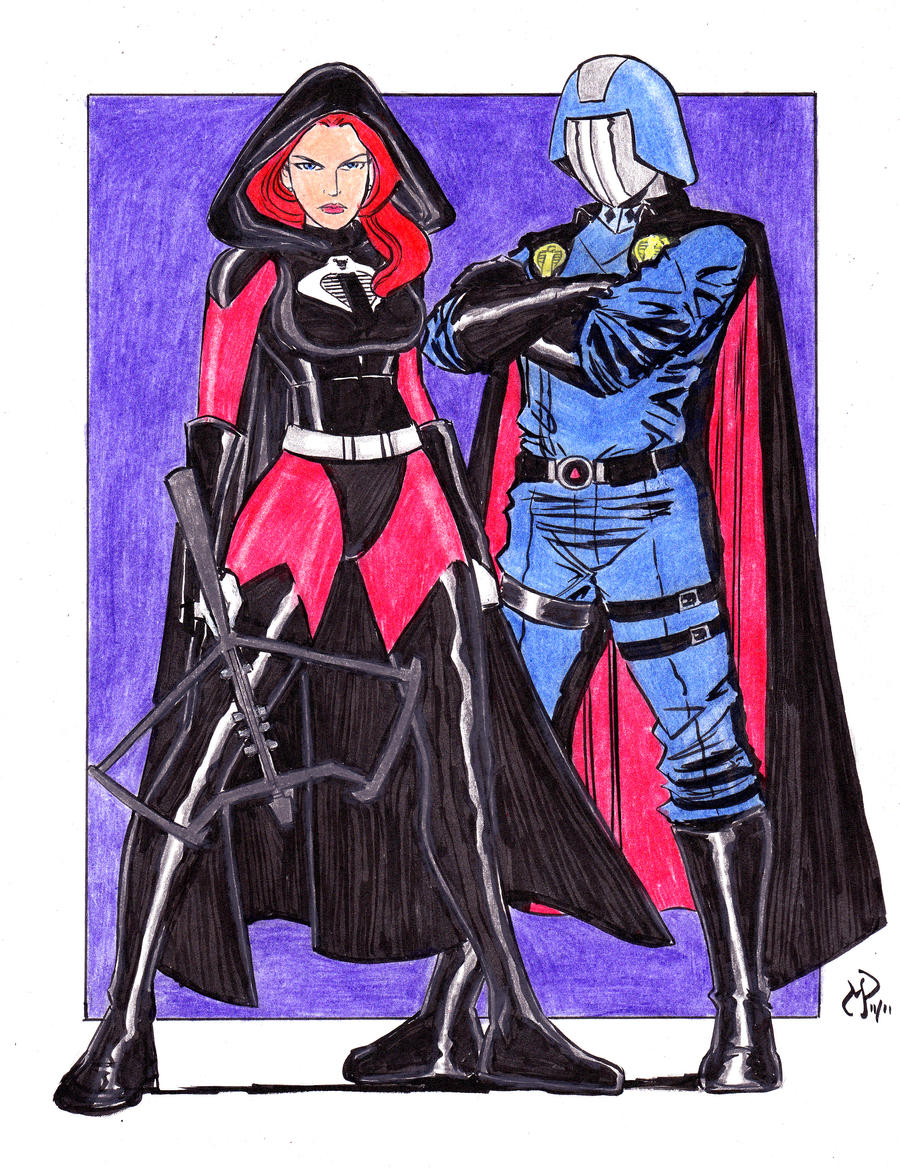 Cobra Commander and Cobra Scarlett Colored by MichaelPowellArt