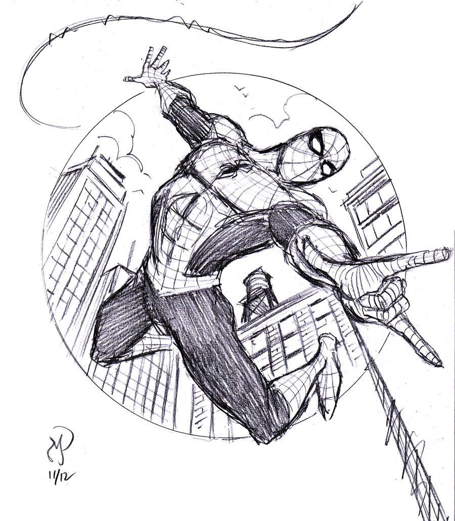 easy spiderman sketch