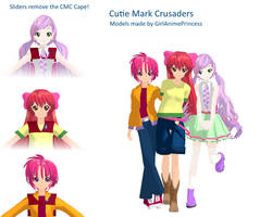 Cutie Mark Crusaders MMD Model Pack by GirlAnimePrincess
