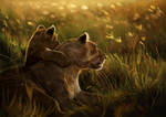 Digital painting : Lioness and cub