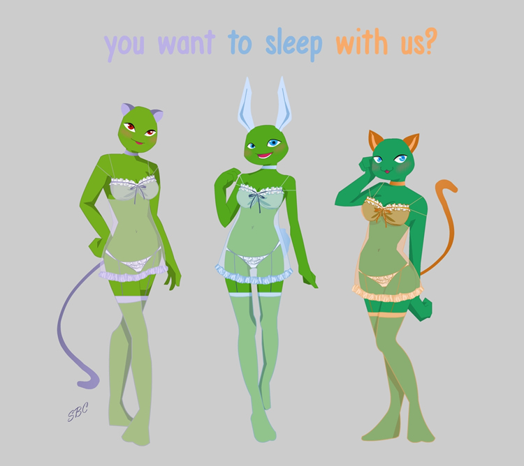 You want to sleep with us (Fem Leo/Donnie/Mikey) by Siren-Blue-Cat