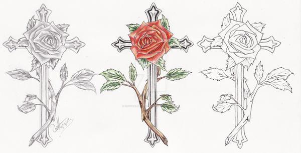rose cross tattoo set by crystalbluedragon on deviantart. Black Bedroom Furniture Sets. Home Design Ideas