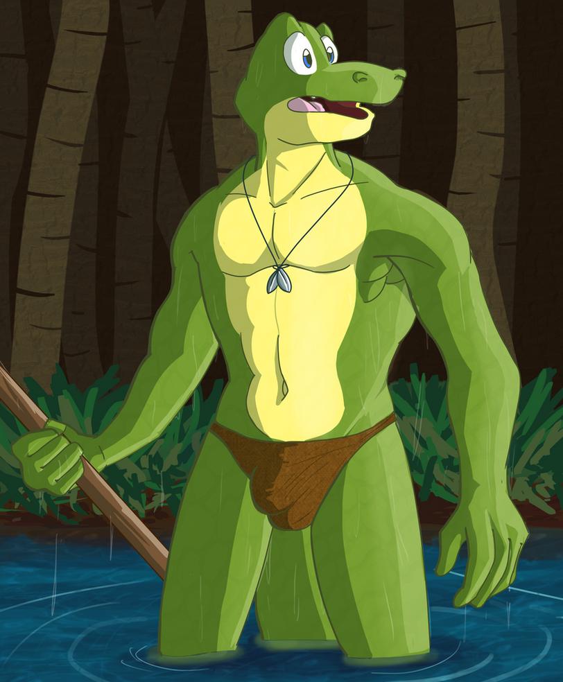 Croc in water
