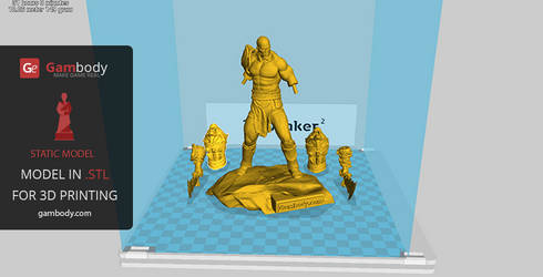 16cm Tall 3D Printable Kratos Replica by Gambody