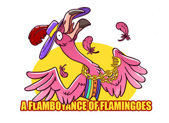 a flamboyance of flamingoes
