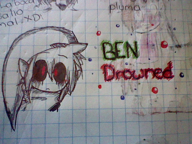 BEN Drowned (Drawing in pen) by Menathehedgehog