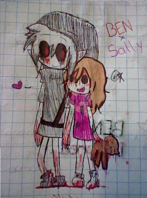 BENxSally (Drawing in pen) by Menathehedgehog