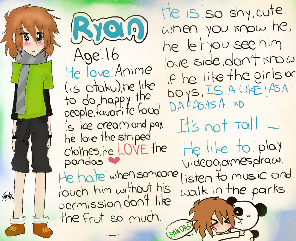 My O.C Ryan by Menathehedgehog