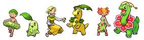 Chikorita Evolutions Custom Sprites by HaleyKlineArt
