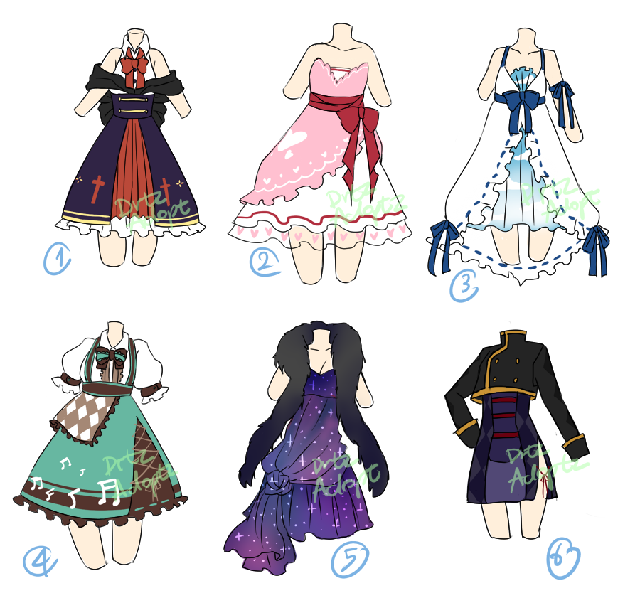 Adoptable  Random dresses [CLOSED] by ZylenXia on DeviantArt