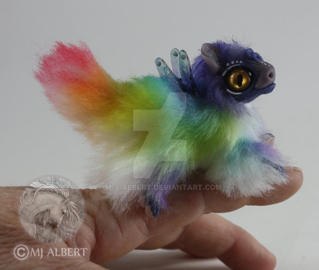 OOAK Rainbow Fairy Spirit Dragon Hatchling Doll by M-J-Albert