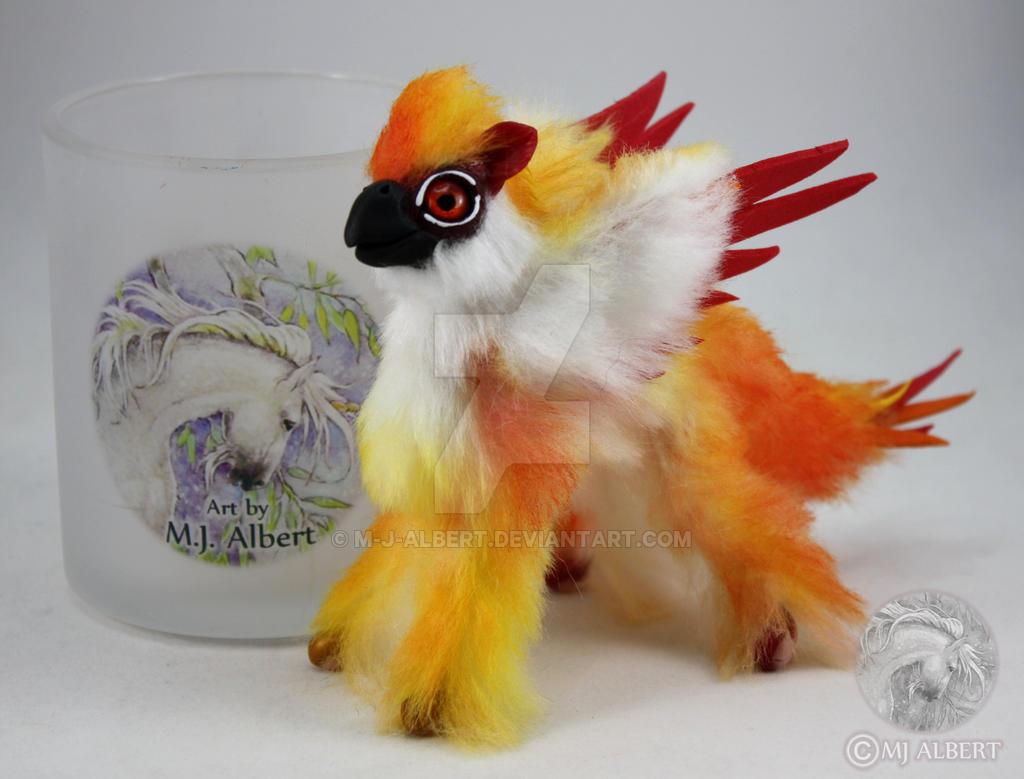 Mini Poseable Fire Gryphon Art Doll by M-J-Albert