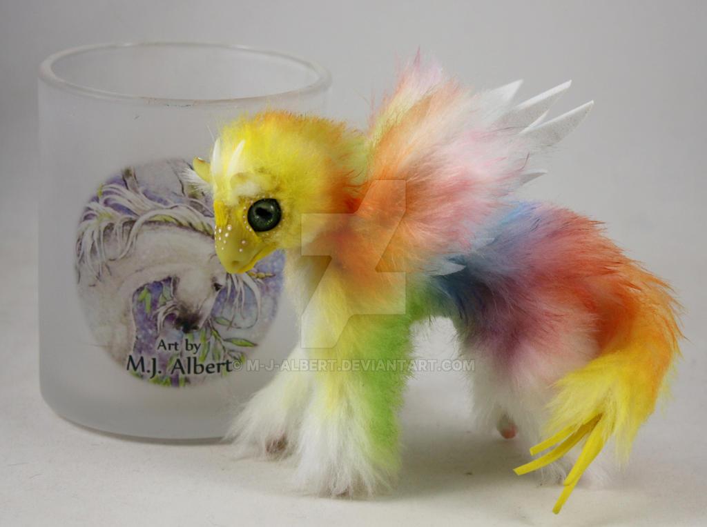 Yellow Face Rainbow Bird Dragon Mini Doll by M-J-Albert