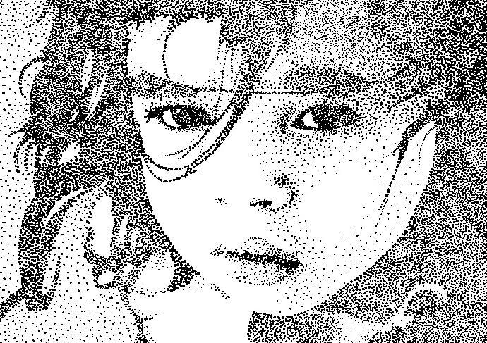 Clara's Stare - Stipple by Kazeyoubi