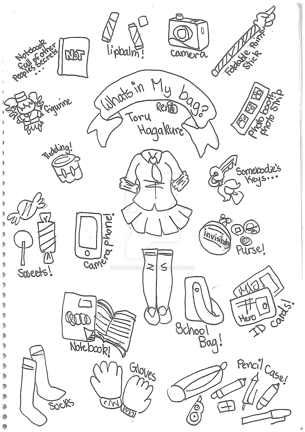 Toru Hagakure Whats In My Bag By Margoduchess On Deviantart