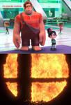 Ralph and Vanellope look at flaming Smash symbol