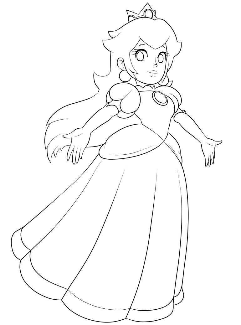 D Line Drawing Game : Princess peach lineart by bloommagic on deviantart