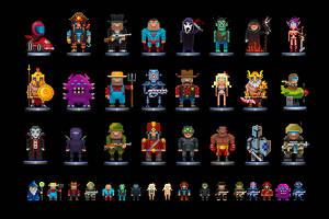 Random pixel dudes by fromcomics